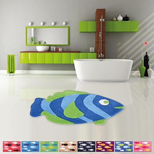 Pro Home Badematte Duschvorleger Badezimmerteppich Auswahl: 50x80cm Fisch blau - grün
