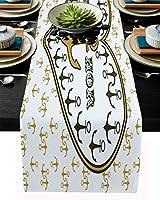 テーブルランナー アンカー ラブハット テーブルクロス お食事マット プレースマット おしゃれ インテリア 食卓飾り 滑り止め 欧風 無地 おもてなし パーティー ホームデコレーション 46x183cm