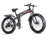 Bicicleta de montaña eléctrica GUNAI, Bicicleta eléctrica Plegable de 26 Pulgadas con neumático Grueso con Asiento Trasero y batería de Iones de Litio extraíble de 48 V 12,8 Ah