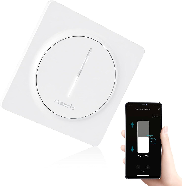 【Nuevo Tamaño】WiFi Interruptor Luz con Atenuador, Maxcio Regulador de Luz WiFi de Pared Táctil, Interruptor Wifi Dimmer Control de APP y Voz, con Temporizador, Compatible con Alexa/Google Home