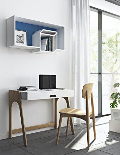 TemaHome Cubic Étagère de Mur, Bois tamburato, Bleu foncé et Blanc, 100 x 26 x 50 cm (L x l x h)