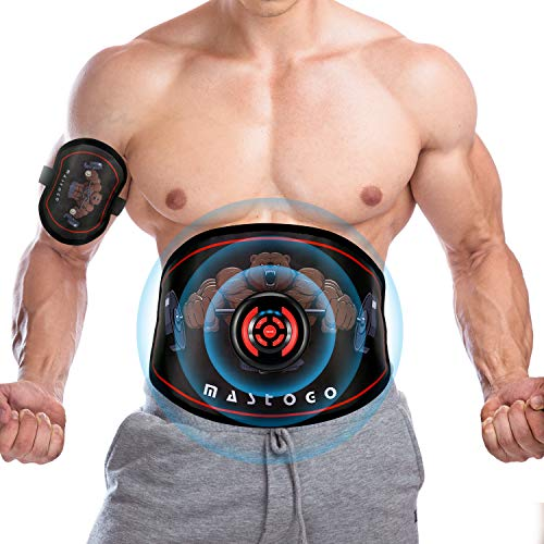 MASTOGO Electronic Abs Toning Training Belt - 9 Modes Pulse Abdominal Stomach Machine EMS Waist Trimmer Equipment Ab Fitness Workout Stimulator for Men Women Belly Arm Leg Muscle Pain Relief Device