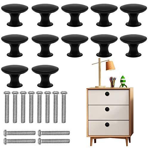 Schwarze Schrankknäufe, 12 Stück, runde Pilz-Schubladenknäufe, 30 mm Aluminiumlegierung, Schrankknöpfe mit 12 Schrauben für Zuhause, Tür, Büro, Kommode, Schubladen