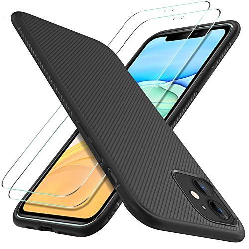 GESMA für iPhone 11 Panzerglas (2 Stücke) + für iPhone 11 Hülle, Ultradünne, stoßfeste, weiche TPU Hülle mit 2 Stück HD Anti-Kratzer Displayschutzfolie, für iPhone 11
