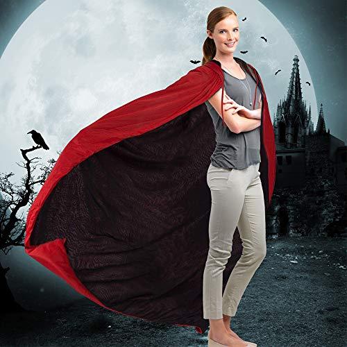"Kbnian Unisex Capa de Vampiro Hoodie Doble Cara Negro Rojo Reversible Disfraz Disfraz Maquillaje para Halloween Mascarada Mujer Niña Niño Hombre (140cm / 55"")"