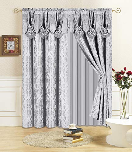 """All American Collection New 4 Piece Drape Set with Attached Valance and Sheer with 2 Tie Backs Included (84"""" Length, Grey)"""