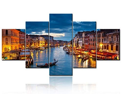 """Venice Night 5 Piece Giclee Canvas Prints Wall Art Italy City Skyline Landscape Picture Paintings for Living Room Bedroom Home Decorations Modern Stretched and Framed Cityscape Artwork - 60""""W x 32""""H"""