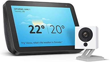 Echo Show 8 (Charcoal) with Wyze 1080p indoor smart home camera