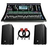 Allen & Heath SQ-6 48-Channel / 36-Bus Digital Mixer with 24+1 Motorized Faders & Pair of EV ZLX12P Speakers and XLR Cables