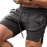 COOFANDY Herren Sportswear Shorts Radsport Shorts Trainingshose Sporthose 2 Seiten mit Reißverschluß and Kordel Regular klassischen Farben Größe