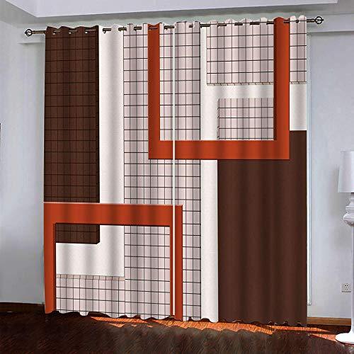 LILYXIN Cortinas Dormitorio Ventana Termicas Aislantes Frio Y Calor Cortina con Ojales Impresión Digital 3D Cuadrado Geométrico Rojo Cortinas Infantiles Habitacion Opacas 2 Piezas 100X214Cm