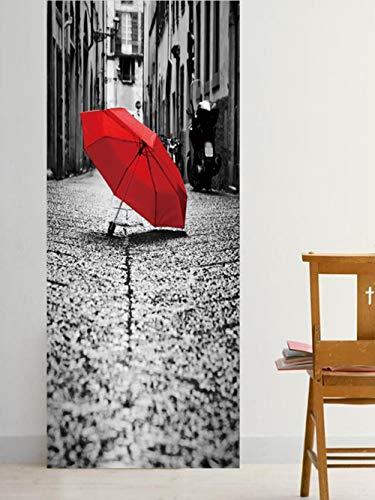 BXZGDJY 3D Türaufkleber Schlafzimmer Türen Renovierung Wasserdichte Tür Aufkleber Einfache Wohnzimmer Wandaufkleber Tapetensticker Fensterbild Wandaufkleberstreet Roten Regenschirm 77X200Cm