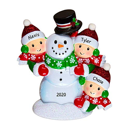 Personalized Building Snowman Family of 3 Christmas Tree Ornament 2020 - Parent Child Friend Red Hat Play Snowball Holiday Tradition Winter Activity 1st Gift Year - Free Customization (Three)