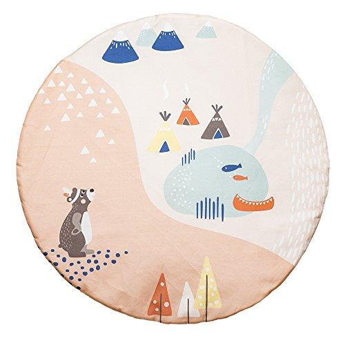 Julicadesign Krabbeldecke Baby | Spiel-Teppich | Rund Groß Gepolstert | Teppich für Babys | Indianer-Landschaft | Mädchen & Jungen