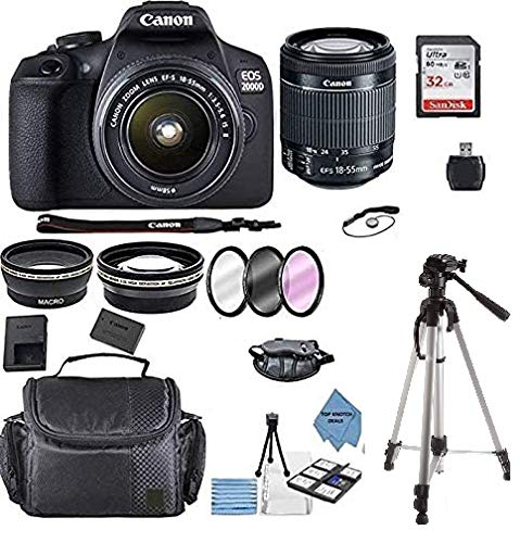 Canon EOS 2000D Rebel T7 Kit with EF-S 18-55mm f/3.5-5.6 III Lens + Accessory Bundle +TopKnotch...