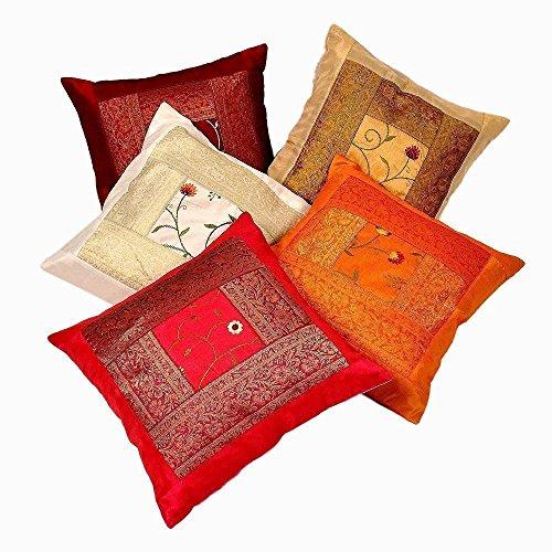 Sophia Art Indian handgefertigt Sari Silk Ethnische Baumwolle Kissenbezug Decor Vintage Kissen Bezüge, dekoratives Sofa Bezug 40,6 x 40,6 cm 05 PCS (Multi)