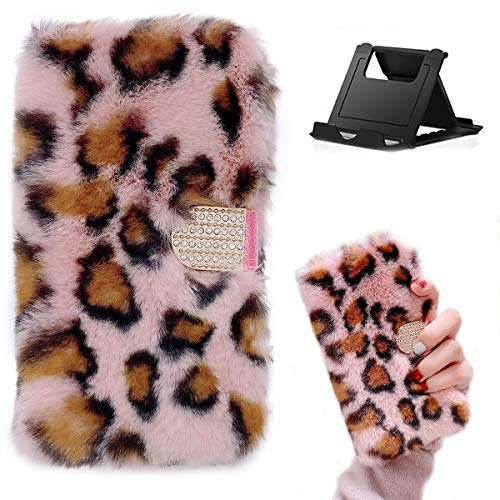 Shinyzone Funda compatible con iPhone 12 Pro Max de 6,7 pulgadas con tarjetero, piel de peluche Flip piel piel de leopardo rosa piel sintética, suave y resistente a los golpes