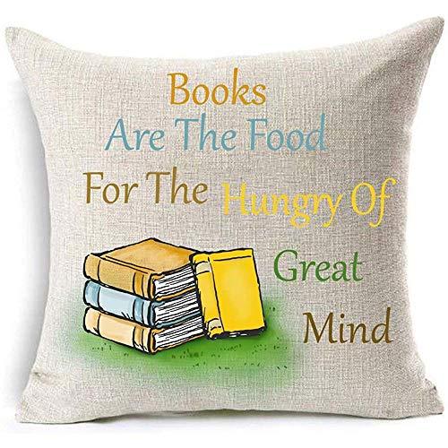 Nat Abra Book Lover Lezen Boek Club Boeken Zijn Het Voedsel Voor De Hongerige Van Grote Geest Decoratieve Kussen Kussen Kussen Kussen Cover Vierkant (F) 45cm*45cm