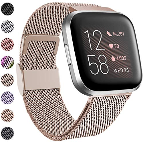 Funbiz Kompatibel mit Fitbit Versa Armband/Fitbit Versa 2 Armband, Edelstahl Handgelenk Metall Ersatzband Armbänder Kompatibel mit Fitbit Versa/Versa 2/Versa Lite, Klein, Champagner