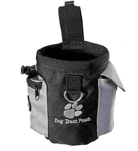 Futterbeutel für Hunde mit integriertem Poop-Beutelspender und verstellbarem Bund, leicht zu tragendes Tierspielzeug, Leckerbissen für Futtertasche für Hundetraining und Ausbildung - 12.5x8x12.5 cm