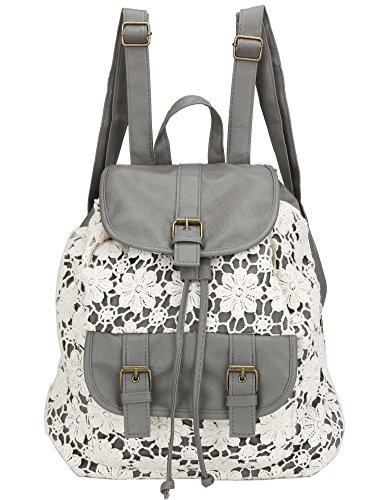 Owbb® Retro Damen Mädchen Weiß Blumen Spitze Grau PU Leder Drucken Rucksack Reisetasche/Kinder Schulrucksäcke