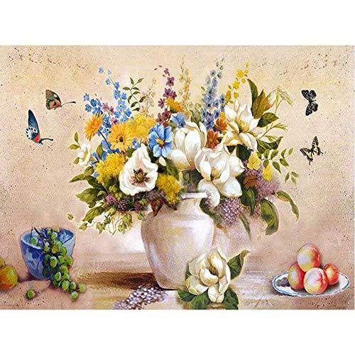 YSNMM Witte Vaas En Vlinder Bloem Diy Digitale Schilderen Door Getallen Moderne Muur Kunst Canvas Schilderen Unieke Gift Home Decor