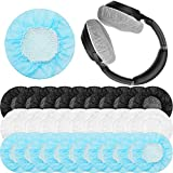 300 Pieces Non-Woven Sanitary Headphone Ear Cover Disposable Headset Covers White, Blue and Black Fabric Earpad Covers for 8.5-10 cm Large-Sized Headphones (L-11 cm)