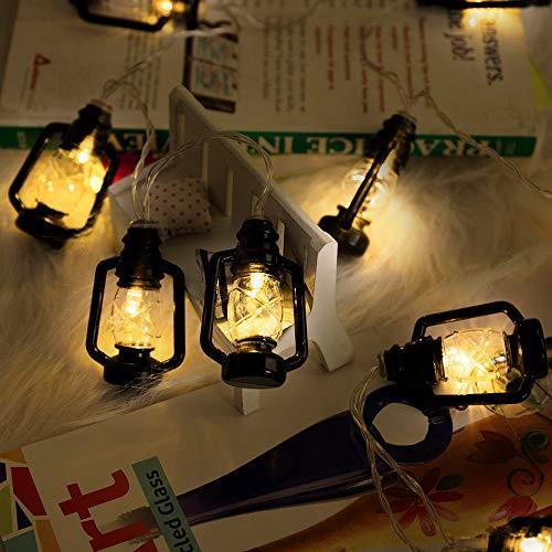 ANZOME 20-LED 3m/9.8ft Red Lantern Mini Kerosene Fairy Strings Light, 2 Modes Battery Powered Lighting for Home Wedding Party Gift for Ramadan Family School Parties Decor(Black)