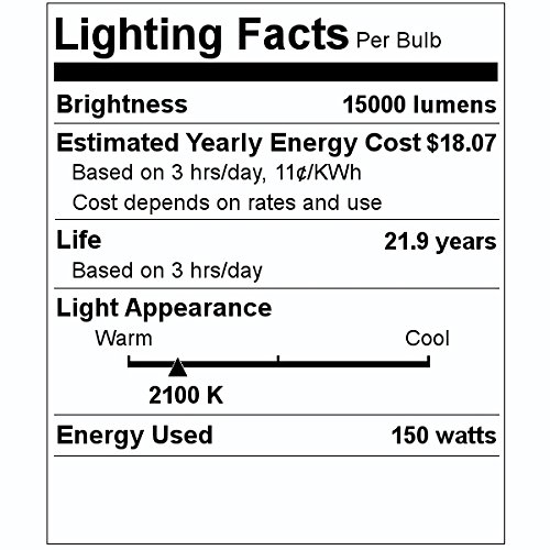 Philips Lighting 344465 BD17 High Pressure Sodium Lamp 100 Watt E26 Medium Base 8550 Lumens 21 CRI 2100K Ceramalux Non-Alto