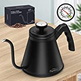 pentaQ Pour Over Coffee Kettle with Thermometer, 40oz/1.2l Premium Stainless Steel Gooseneck Stovetop Tea Kettle for Drip Coffee, French Press and Tea. Insulated Ergonomic Handle