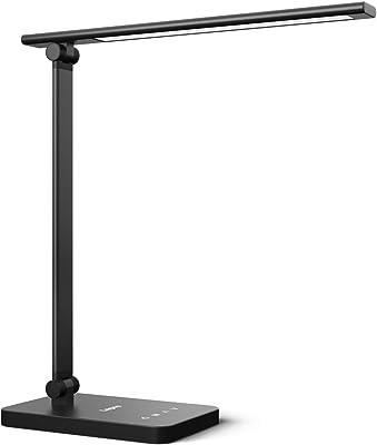 Lepro Lampe de Bureau LED, Lampe de Table avec 3 Modes de Couleur et 5 Niveaux de Luminosité pour la Protection des Yeux, Angle d'Éclairage Réglable, Contrôle Tactile pour Lecture Travail Étude