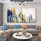 Pintura sin Marco Arquitectura de la Ciudad Pintura al óleo Lienzo Pintura Abstracta Mural Sala de Estar decoración del hogar artZGQ3551 50X100cm
