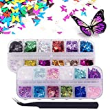 Fanspack 2 Cajas de Uñas con Lentejuelas Brillantes en Forma de Mariposa Decoración de Uñas con Pinzas