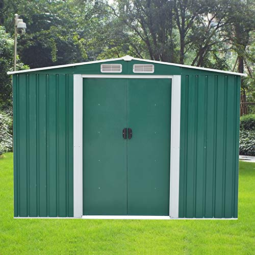 8 X 6 ft Metal Garden Shed Steel Sheds Outdoor Garden Tools Storage Shed(Green)