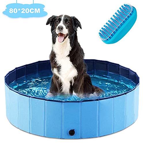 Generies faltbarer Hunde-Pool für Haustiere, 80 x 20 cm, Planschbecken für Haustiere und Kinder, stabiler Hunde-Pool mit Bürste für Haustiere, Kinderbadewanne für Garten, Terrasse, Badezimmer