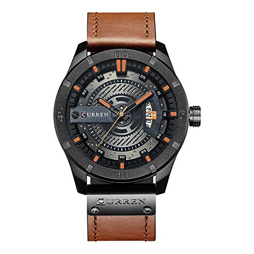 Curren Herren Quarzuhr Analog mit Datumsanzeige,Casual Sport wasserdichte Leder Armbanduhren 8301