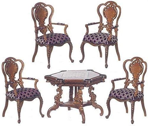 Melody Jane Puppenhaus Monte Carlo Spiel Tisch & Stühle Nussbaum Platinum Suite