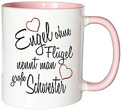 Mister Merchandise Kaffeebecher Tasse Engel ohne Flügel nennt Man große Schwester Sister Familie Family Geburt Schwanger Baby Teetasse Becher Weiß-Rosa