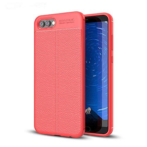 Huawei Honor View 10 Hülle, MHHQ Slim PU Weiches Leder Stoßsicheres Gehäuse Flexiblem TPU Silikon Hybrid Schutzhülle Tasche Slim-Fit Hülle für Huawei Honor View 10 -Rot