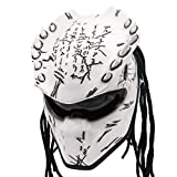 Predator Motorcycle Helmet – DOT Approved – Custom Made, Fibreglass, Unisex for Powersports, Sports, and Outdoor - White Spiked (XXL)