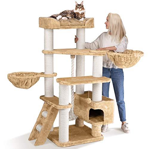 happypet® Kratzbaum Grosse Katzen stabil XXL Kletterbaum | 156 cm hoch | 47 kg Premium Qualität | 12 cm dicke Sisalstämme | Höhle, Liegemulde | geprüfte E1 Holzplatten schwere Katzen Main Coon | CREME