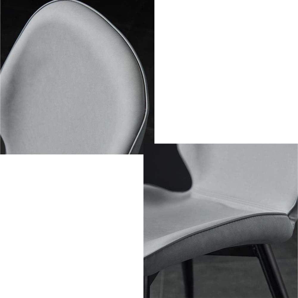 DALL Chaises De Salle À Manger Meubles De Mode Chaise De Table Dossier Coussin PU Chaise De Maquillage Pieds en Métal Noir Chaise De Café Assemblée (Color : Blue 1) Gray