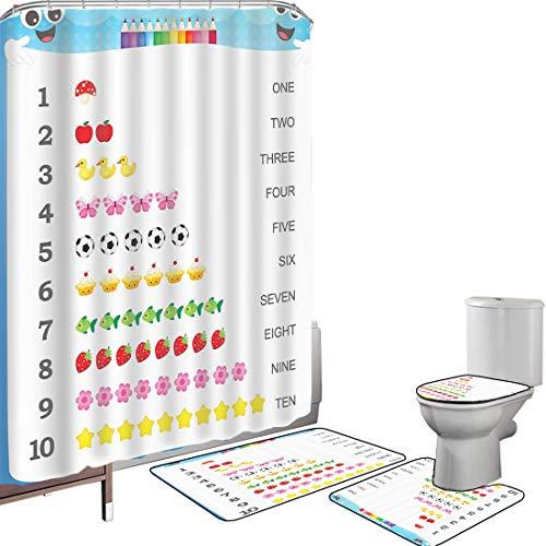 Juego de cortinas baño Accesorios baño alfombras Cuente hasta diez números educativos Impresión digital Inicio Moda Estampados de arte Números Juegos para niños Educación especial Guardería Jardín de