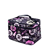 P-SOTER Travel Toiletry Makeup Wash Bag for Cosmetics and Grooming Kit -Black Flower