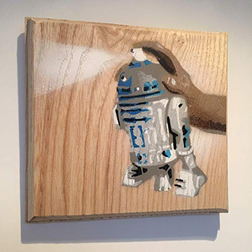 R2 D2 Star Wars Spray Can | Fathers Day Gift for Him | Gift for Dad Brother | Handmade in the UK | Street Art Graffiti Picture Painting on Ash Wood - Artwork 14 x 13cm