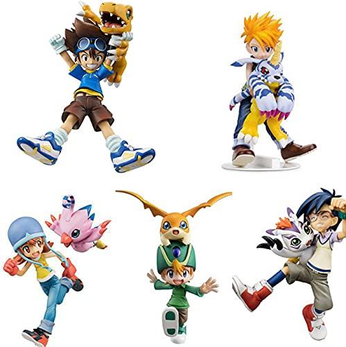 5 Caja / Set Figura De Anime Digital Digimon Adventure Ishida Yamato Gabumon Yagami Taichi Agumon Hikari Sora PVC Digimon Figura Coleccionable Modelo Juguetes Regalo para Niños