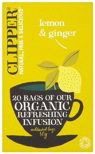 Clipper Tea - Herbal Infusion - Organic Lemon & Ginger Infusion - 20 Bag (Case of 6)