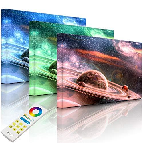 Lightbox-Multicolor | Wanddekoration Leuchtbild | Planet mit zahlreichen prominenten Ringsystem | 100x70 cm | Fully Lighted