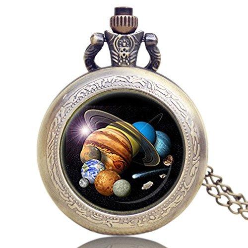 ZJZ Sonnensystem Thema Glaskuppel Anhänger Halskette Taschenanhänger Taschenuhr Geschenk für Geburtstagsgeschenke