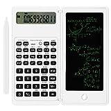 Calcolatrice zootop Calcolatrice scientifica ultrasottile con lavagna cancellabile, LCD a 10 cifre Matematica fisica geometria calcolatrice per calcoli in ufficio, scuola superiore e università Bianco